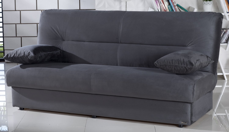 Regata Dark Gray Microfiber Sofa Bed With Storage
