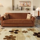 Elita Brown Microfiber Sofa Bed with Storage