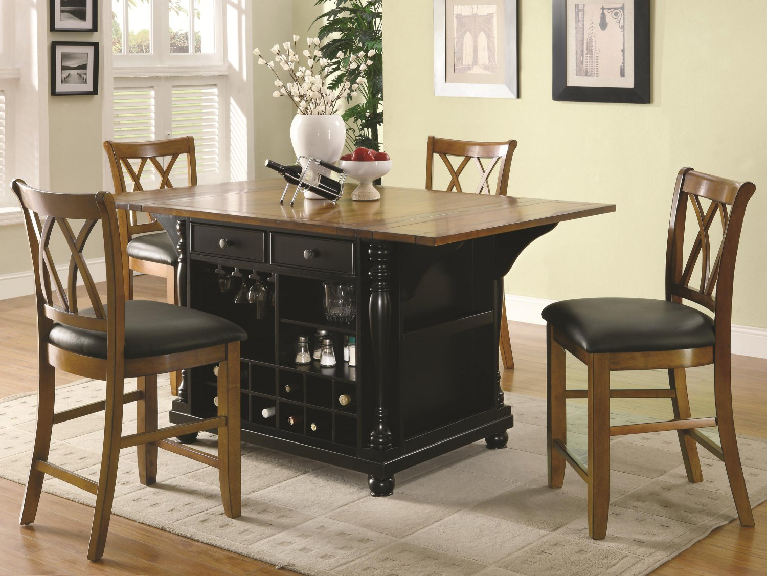 102270 72 counter height kitchen island 5pc dining set