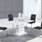 D470DT-D490DC-BL 5pc White Table with Black Chairs by Global