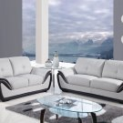 U3250 Grey-Black bonded Leather 2pc Living Room Sofa Set