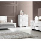 Status White Finish Queen Size 5pc Bedroom Set