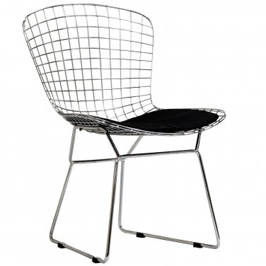 Bertolia Style Set of Two Side Chair with Black Vinyl Seat Pad