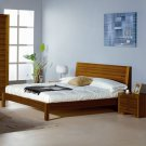 Alpha Modern Queen Platform Bed in Teak Finish