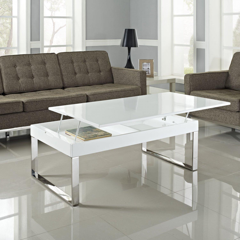 Florence Lift Up Storage White Gloss Coffee Table: White Gloss Lift Coffee Table