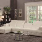Larry Contemporary Sectional Sofa in White Bonded Leather