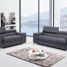 Soho Modern Grey Leather 2pc Living Room Set