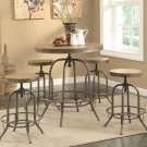 Industrial-style 5pc Bar Table and Stools Set