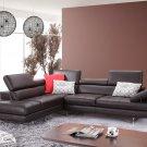 A761 Coffee Italian Leather Sectional Sofa