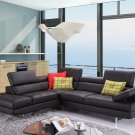 A761 Black Italian Leather Sectional Sofa