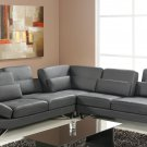 Bianca Sectional Sofa in Grey Leather
