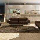 J&M Astro 3pc Sofa Set in Chocolate Italian Leather