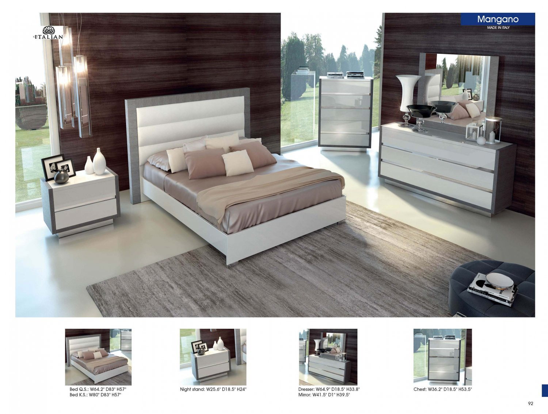mangano 5pc white silver king size bedroom set