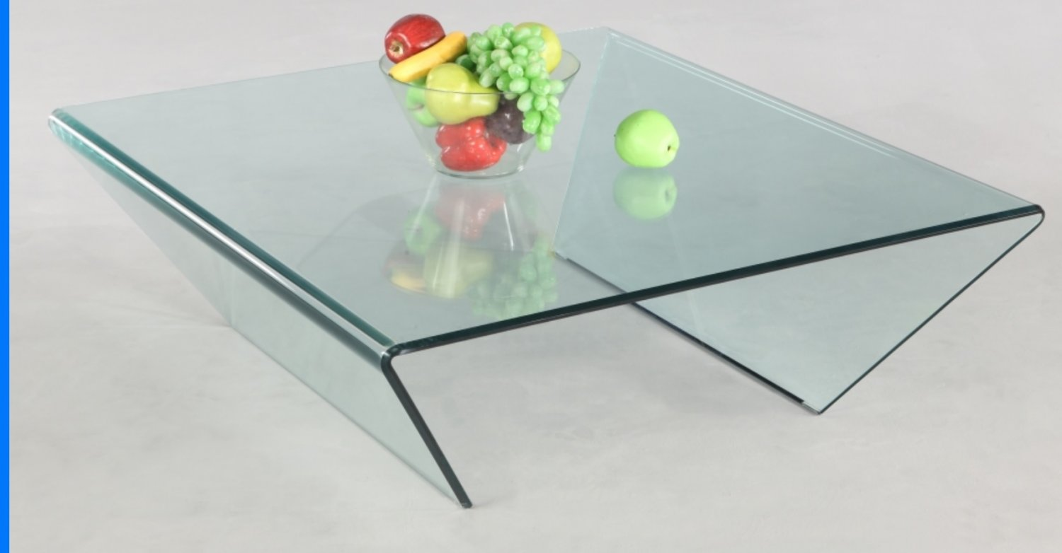 Ava Modern Square Clear Glass Coffee Table
