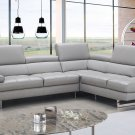 Aurora Lt Grey Italian  Letaher Sectional Sofa