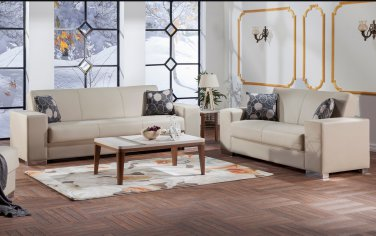 Kobe Sofa Bed and Love Seat in Santa Glory Cream