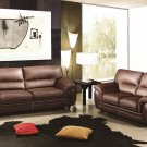 Sienna Brown Leather 2pc Sofa Set Sofa and Loveseat