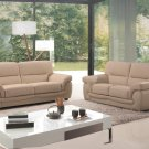 Sienna Beige Leather 2pc Sofa Set Sofa and Loveseat
