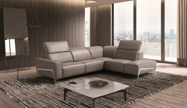 Ocean Grey Premium Leather Sectional
