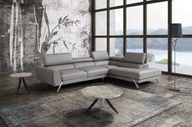Mood Grey Premium Leather Sectional