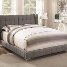 Cordelia Queen Size Bed in Grey Fabric