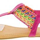 Multicolored Woven Strap Sandal in Fuchsia