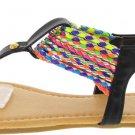 Multicolored Woven Strap Sandal in Black