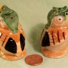 Germany Bird Salt Pepper c '50's Porcelain Luster