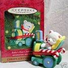 Hallmark '00 Baby First Christmas Train Bear Peppermint...10038