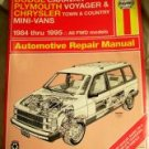 Dodge Plymouth Chrysler Mini Van 84-95 Haynes Manual VG...10012