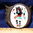 Native American Kachina Turquoise Coral Onyx Silver Bracelet Pawn Family Collection