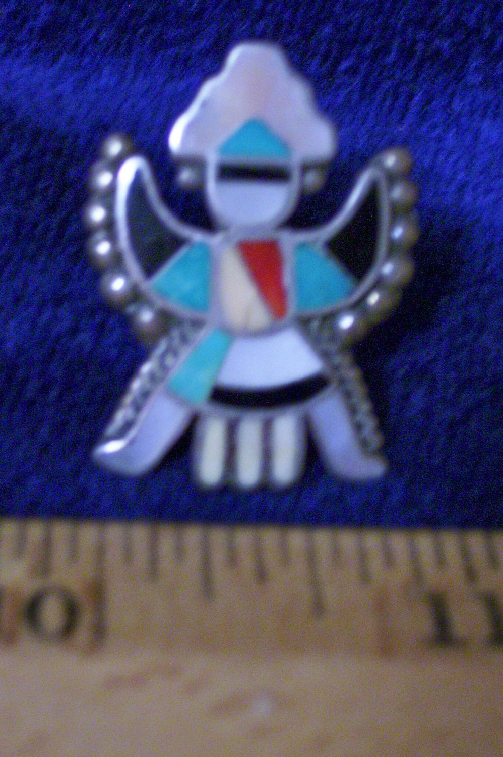 Native American Kachina Turquoise Coral Onyx Silver Mother of Pearl Ring Pawn Family Collection