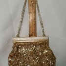 Vintage Gold Bead Sequin Clutch Bag Purse with Chain Handle