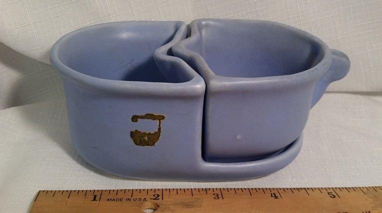 Camark Pottery Blue Nesting Open Sugar & Creamer Vintage 1950's Mid Century