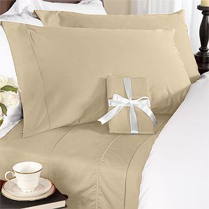 Deep Pocket Beige Fitted Sheet 600TC Queen Size 100% Egyptian Cotton