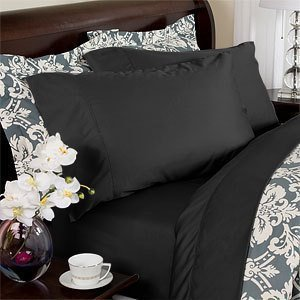 Deep Pocket Black Fitted Sheet 600TC Queen Size 100% Egyptian Cotton