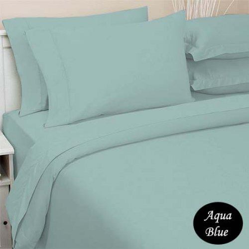 Deep Pocket Aqua Blue Fitted Sheet 600TC Queen Size 100% Egyptian Cotton