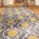 Gray And Yellow Rug Moroccan Trellis Contemporary Modern Indoor Area 5'3 X 7'3