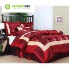 King Size Bedding Comforter Set 7 Piece Burgundy Luxury 2 Shams Bedskirt Angela