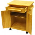 Small Kitchen Storage Cart Natural Wood Rolling Island Serving Solid Cabinet