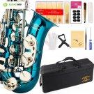 Glory Light Blue/Silver keys E Flat Alto Saxophone with 11reeds,8 Pads cushions,