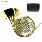 Monel Rotors Bb/F 4 Keys Double French Horn w/Case Mouthpiece-Gold Lacquer Fin