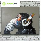 QICAI Modern Gorilla Monkey Music Oil Painting Wall Painting Canvas Painting Hom
