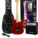 39 Inch Metallic RED Electric Guitar and Amp Pack Carrying Case Accessories,