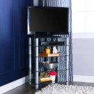 Media Storage Tower Glass Shelves Component TV Stand Silver Entertainment Center