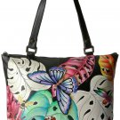 Anuschka Anna by Handpainted Leather Large Tote, Lovely Leaves