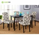 Dining Room Set 5 Piece Wood Table And 4 Upholstered Chairs Off White And Black