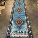 Southwest Long Runner Area Rug Blue Brown Design D143 (32 Inch X