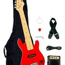 "1/2 Half Size Kids Red 30"" Inch Electric Guitar and Amplifier Pack Gig Bag, St"