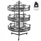 3 Tier Salon Style Black Metal Spinning Carousel Nail Polish Display Rack / Cosm